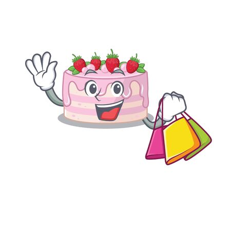 A friendly rich strawberry cake waving and holding Shopping bag. Vector illustration