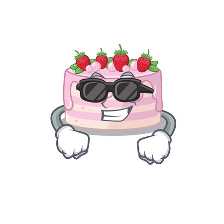 Super cool strawberry cake character wearing black glasses. Vector illustration