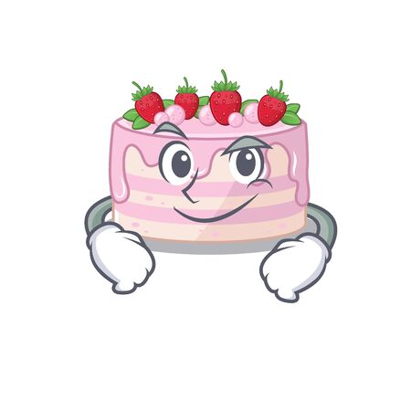 Cool strawberry cake mascot character with Smirking face. Vector illustration