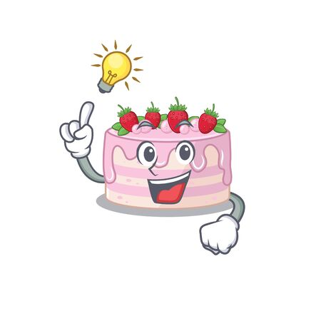 a clever strawberry cake cartoon character style have an idea gesture. Vector illustration
