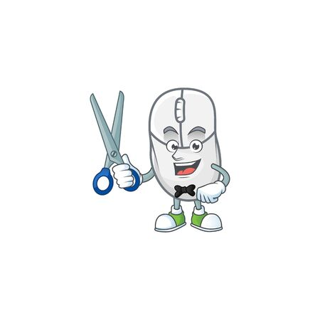 Happy smiling barber white mouse mascot design style Vector Illustratie
