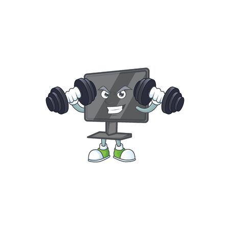 Computer screen mascot icon on fitness exercise trying barbells