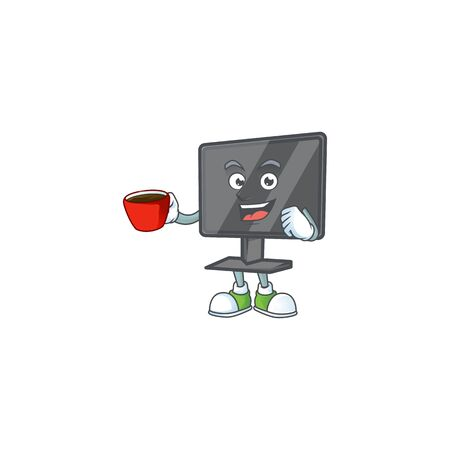Cool computer screen cartoon character with a cup of coffee Vectores