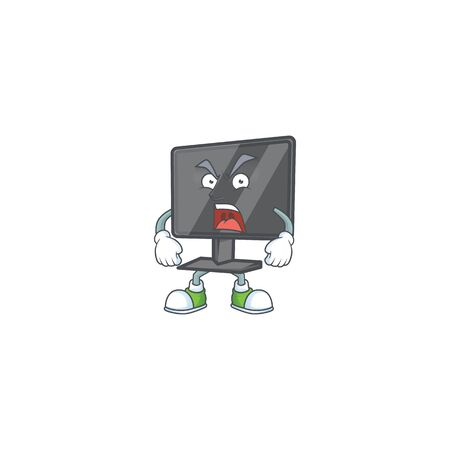 Computer screen cartoon character design with angry face
