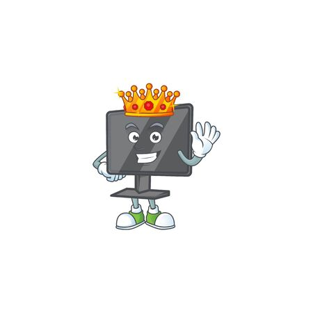 A dazzling of computer screen stylized of King on cartoon mascot design Illusztráció