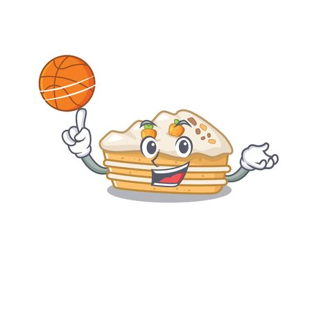 A mascot picture of carrot cake cartoon character playing basketball