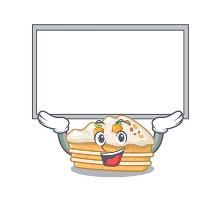 A carrot cake mascot picture raised up board Vettoriali
