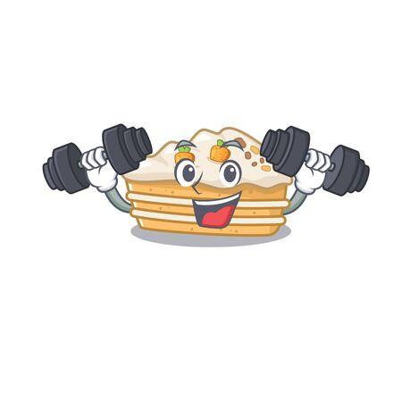 Sporty Fitness exercise carrot cake mascot design using barbells