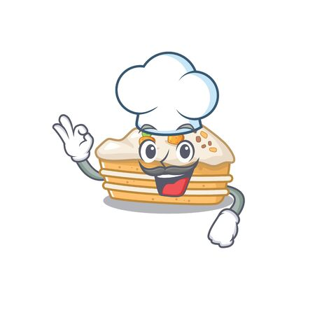 Carrot cake cartoon character working as a chef and wearing white hat Foto de archivo - 140171804