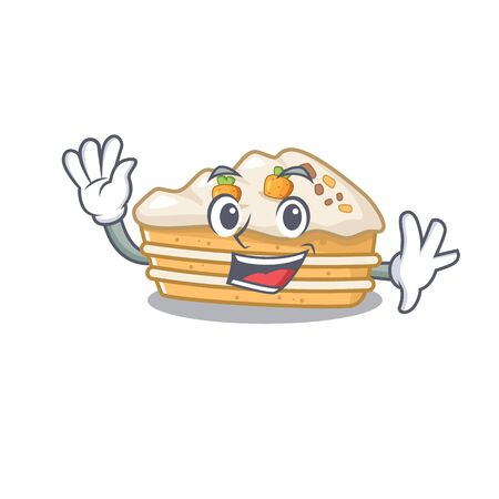 Waving friendly carrot cake mascot design style