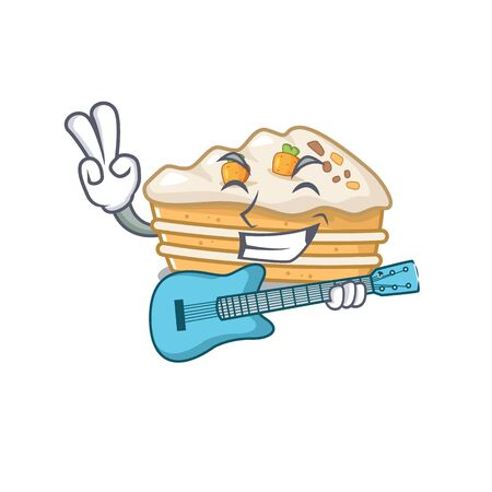 A picture of carrot cake playing a guitar