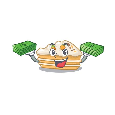 cool rich carrot cake character having money on hands