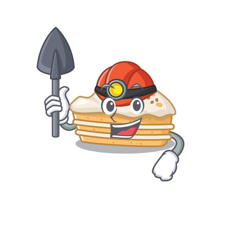 Cool clever Miner carrot cake cartoon character design 向量圖像