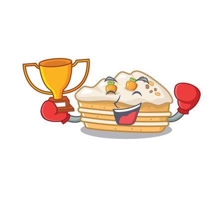 fantastic Boxing winner of carrot cake in mascot cartoon design