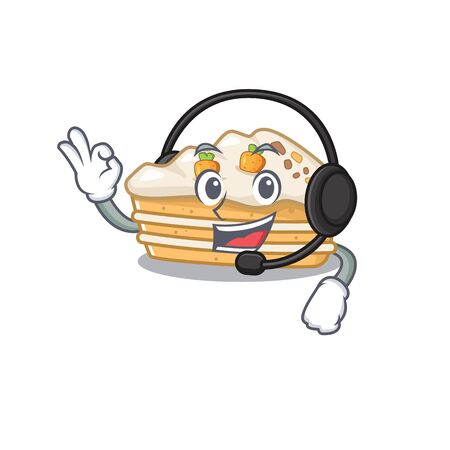 Happy carrot cake mascot design style wearing headphone 向量圖像