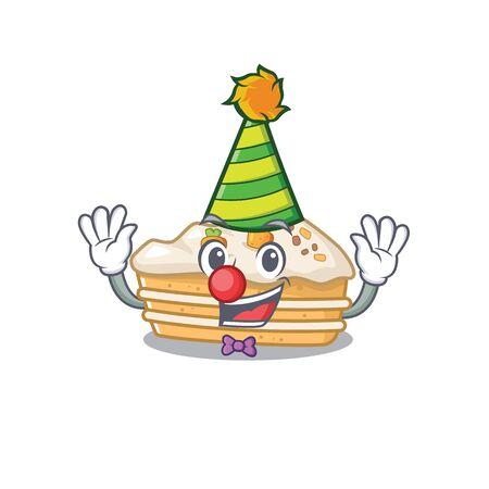 Funny Clown carrot cake cartoon character mascot design 向量圖像