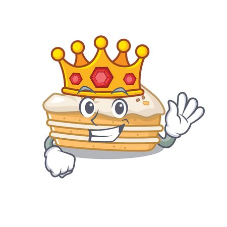 A cartoon mascot design of carrot cake performed as a King on the stage