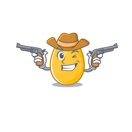 Golden egg Cowboy cartoon concept having guns. Vector illustration Иллюстрация