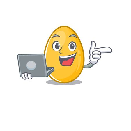 Cool character of golden egg working with laptop. Vector illustration Иллюстрация