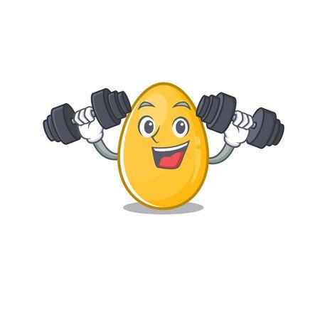 Sporty Fitness exercise golden egg mascot design using barbells. Vector illustration