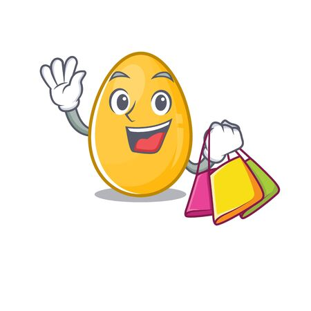 A friendly rich golden egg waving and holding Shopping bag. Vector illustration Ilustrace
