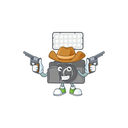 The brave of photo camera with lighting Cowboy cartoon character holding guns. Vector illustration