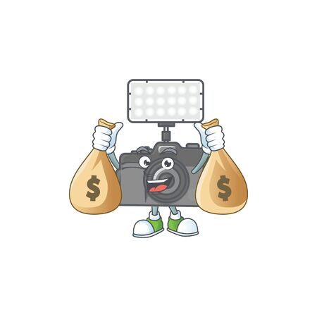 A cute image of photo camera with lighting cartoon character holding money bags. Vector illustration