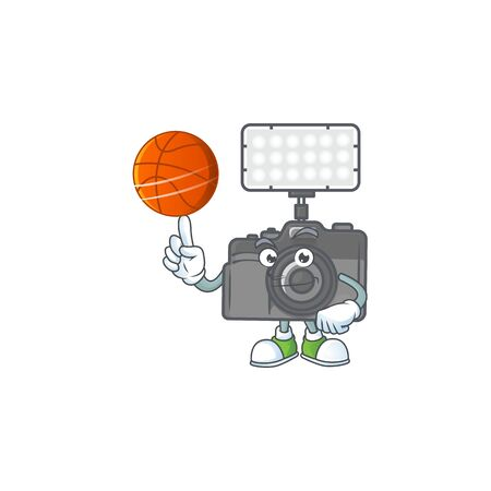 a strong photo camera with lighting cartoon character with a basketball. Vector illustration