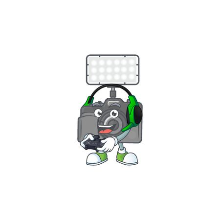 Photo camera with lighting cartoon picture play a game with headphone and controller. Vector illustration