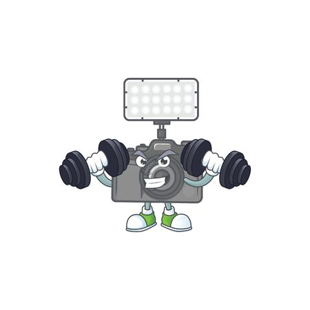 Photo camera with lighting mascot icon on fitness exercise trying barbells. Vector illustration