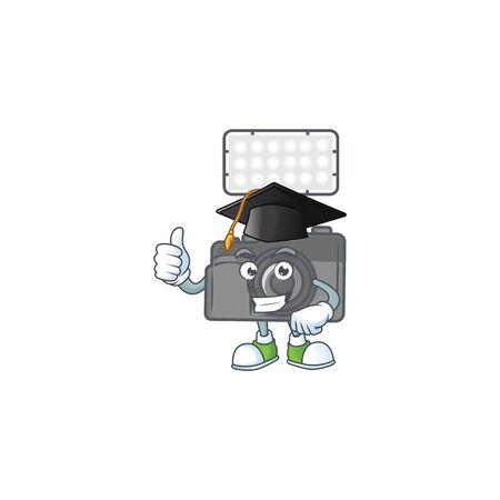 A happy character of photo camera with lighting in a black Graduation hat. Vector illustration