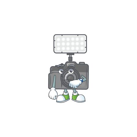 A picture of photo camera with lighting on a waiting gesture. Vector illustration Banco de Imagens - 140172852