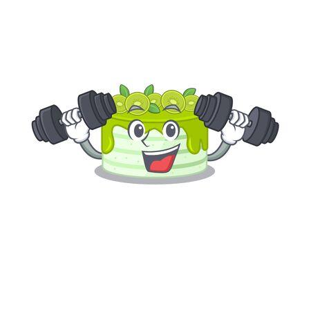 Sporty Fitness exercise kiwi cake mascot design using barbells. Vector illustration