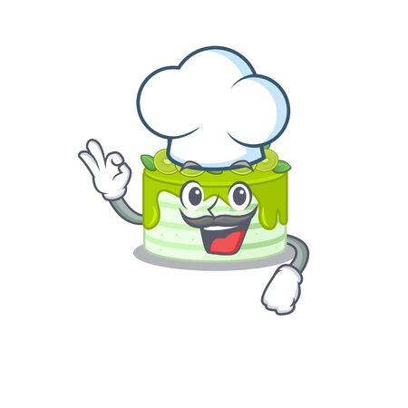 Kiwi cake cartoon character working as a chef and wearing white hat Foto de archivo - 140176997