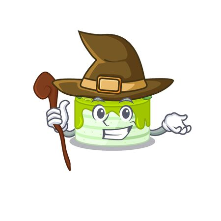 a mascot concept of kiwi cake performed as a witch