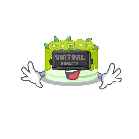 A Picture of kiwi cake character wearing Virtual reality headset Illustration