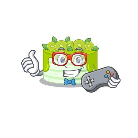 Smiley gamer kiwi cake cartoon mascot style