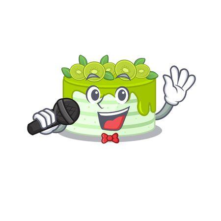 Happy kiwi cake singing on a microphone Illustration