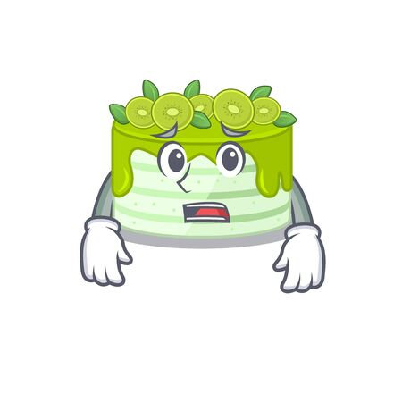 A picture of kiwi cake having an afraid face Illustration