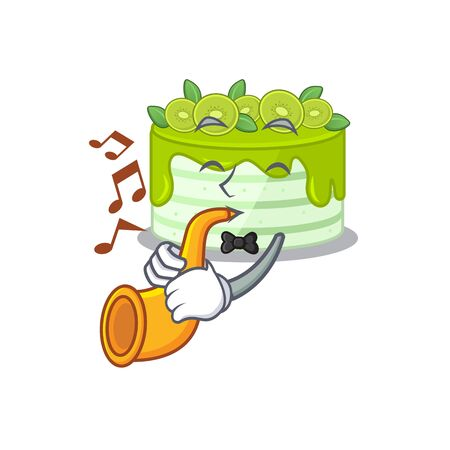 mascot design concept of kiwi cake playing a trumpet