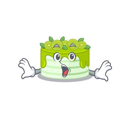 Kiwi cake mascot design concept with a surprised gesture Illustration
