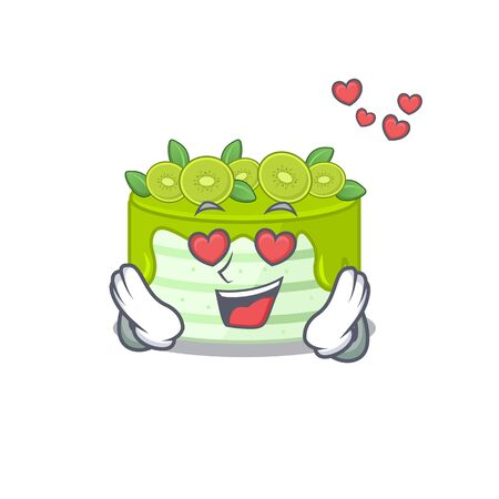 Romantic falling in love kiwi cake cartoon character concept. Vector illustration Illustration