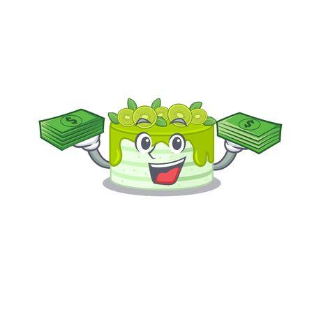 cool rich kiwi cake character having money on hands Illustration