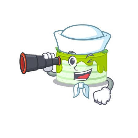 A picture of kiwi cake working as a Sailor with binocular Illustration