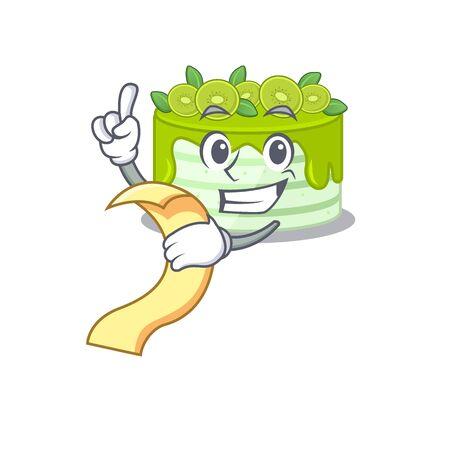 A funny cartoon character of kiwi cake holding a menu Illustration