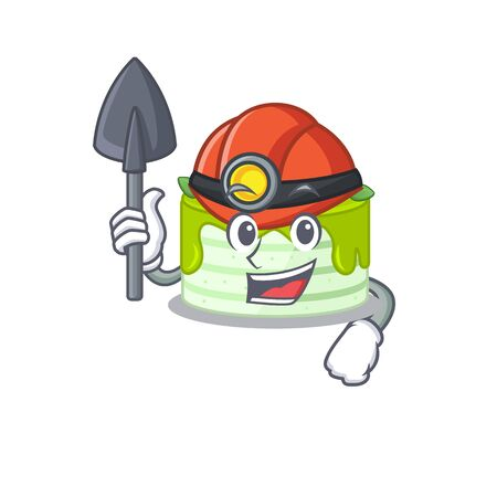 Cool clever Miner kiwi cake cartoon character design