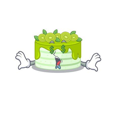 Happy rich kiwi cake cartoon character with Money eye