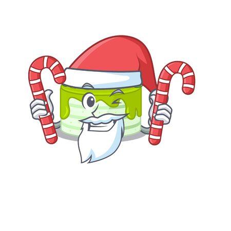 Kiwi cake Cartoon character wearing Santa costume bringing a candy