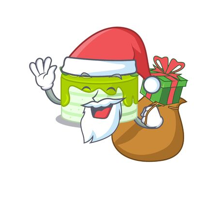 Santa kiwi cake Cartoon character design having box of gifts