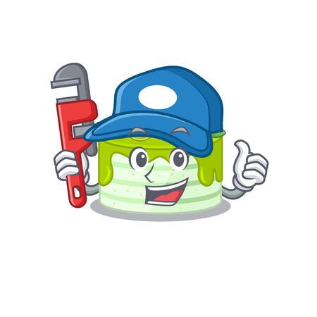 A cute picture of kiwi cake working as a Plumber Illustration